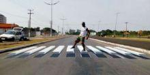 Primavera do Leste inova com faixas de pedestre em 3D