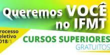 Abertas inscrições para vestibular do IFMT 2018/1 campus Campo Novo do Parecis