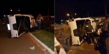 Veículo tomba após acidente em avenida de Campo Novo do Parecis
