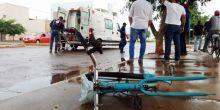 Ciclista fica ferido após ser atropelado por motocicleta em Campo Novo do Parecis